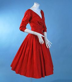 Image detail for -Vintage party dress 1950 Fancy scarlet silk full skirted | Carolyn ...