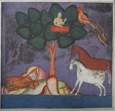 The Prince of the East is discovered by his two Arabian horses while sheltering under the hide of a horse at the foot an isolated tree. This image shows the increased levels of pigment oxidation in paintings towards the end of the manuscript. Untitled tale of Solomon and the Phoenix from the Tipu Library, British Library, IO Islamic 1255, f. 22r.
