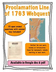 Proclamation Line of 1763 Webquest Middle School History, The Proclamation, Teaching History, American Revolution, Teacher Newsletter, Line, Acting, Homeschool, Students