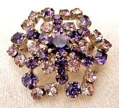 SOLD -Vintage Purple Snowflake Brooch / Crystal Rhinestones by imagiLena, $14.00