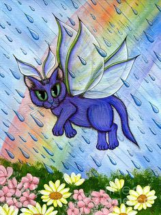 Spring Showers Fairy Cat - Fine Art America Pixels, Carrie-Hawks.Pixels.com   Copyright - Carrie Hawks, Tigerpixie Fantasy Cat Art. More Prints, Jewelry & Gift Items featuring this image are available on my website - Tigerpixie.com