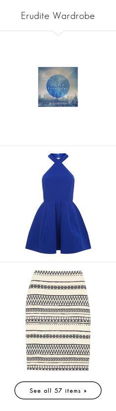 """Erudite Wardrobe"" by splendifurous ❤ liked on Polyvore featuring backgrounds, divergent, text, dresses, vestidos, short dresses, blue, skater dress, blue dress and short blue dresses"
