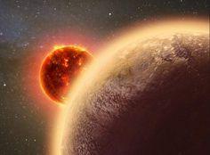 Os astrônomos detectaram uma espessa atmosfera, que pode conter água, em um planeta rochoso, a meros 40 anos luz da Terra.