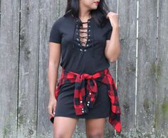 A laced up dress with a little bit of plaid - The color palette a lifestyle, fashion & beauty blog