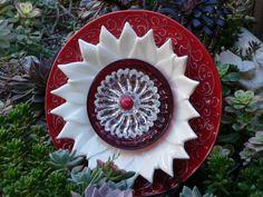 Drought Resistant Plate Flowers   Yard Art Plate Flowers