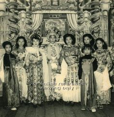 Chinese opera costumes on a typical stage (from album belonging to family of Ena Teh Guat Kheng, daughter of Dr Lim Boon Keng) - 1950s