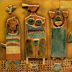 Plaque by Stig Lindberg. Ceramic Wall Art, Glass Ceramic, Tile Art, Ceramic Pottery, Pottery Art, Vintage Pottery, Vintage Ceramic, Stig Lindberg, Clay Tiles