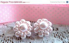 Preppy Pastel  Pink Classic Dressy Pearl  Earrings via Etsy