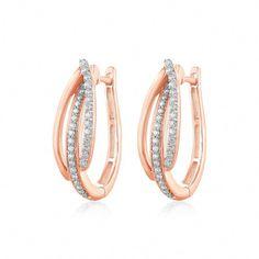 0.40 Ct Natural Diamonds 3 Row Hoop Huggie Earrings Solid 14k Rose Gold Womens #CaratsForYou #Hoop #GoldInvesting