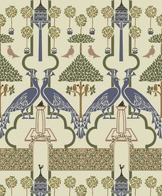 """SQUIRES GARDEN Designed c.1896. In """"The Squire's Garden"""", CFA Voysey evokes the serene dreams of a peaceful pleasure garden from an all but vanished past. Peacocks strut amid potted oranges,dovecotes and rose covered trellises in this pattern from 1896. The soft colors and gentle structured formality ideally suite this design to hallways and dining rooms, or wherever a dignified atmosphere is desired."""