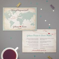 Two Language Bilingual Wedding Invitation   Vintage Design Featuring World Map and Two Locations