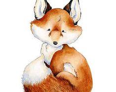 SALE Fox Nursery Art, Baby Fox Art, Watercolor Nursery, Woodland Nursery, Forest Friends, Nursery Art, Nursery Decor, Fox Art Print, Baby Fo