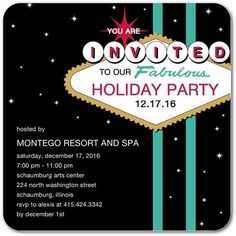 Viva Vegas - Corporate Holiday Party Invitations - Hello Little One - Black : Front
