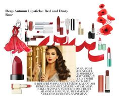 """Deep Autumn Lipsticks: Red and Dusty Rose"" by juliettehasagun1 ❤ liked on Polyvore featuring beauty, Revlon, Givenchy, Too Faced Cosmetics, Gipsy and Red 23"