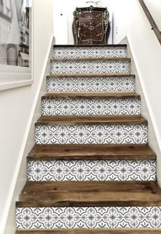 - Stairway Designs & Ideas - Stair Riser Vinyl Strips 15 steps Removable Sticker Peel & Stick : MarrakechGrey Decorative stair-riser is hot in the last home decor scene, we have it easy for you to lift your staircase in just a peel away. Tile Stairs, Basement Stairs, Open Basement, Basement Ideas, Stairs Tiles Design, Laminate Stairs, Easy Home Decor, My Dream Home, Home Projects