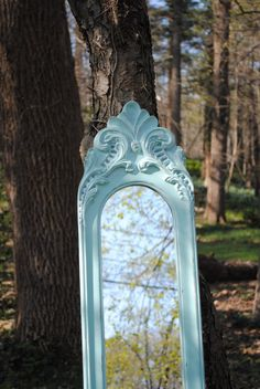 Shabby Chic Long Blue Mirror  French Povencal by brideystreasures, $145.00