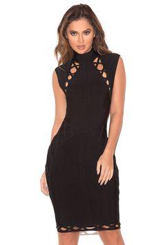 Clothing : Bandage Dresses : 'Saira' Black Lace Up Detail Bandage Dress