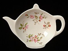 Teapot Shape Tea Bag Caddy Rose Tree Chintz England