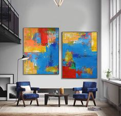Set Of 2 Large Contemporary Painting Abstract by CelineZiangArt