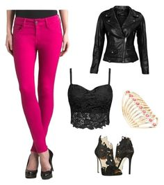 Pretty in pink by elenore64 on Polyvore featuring polyvore, fashion, style, VIPARO, Paige Denim, La Perla and Lane Bryant