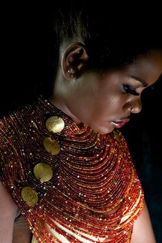 Contemporary African Jewellery, African Fashion, designed by Patricia Mbela of Poisa (Kenya). Photographed by Barbara Minishi, model Sophie and Make up by Suzie Beauty. African Necklace, African Jewelry, Ethnic Jewelry, Jewelry Art, Jewelry Design, Fashion Jewelry, Designer Jewellery, Chain Jewelry, Statement Jewelry