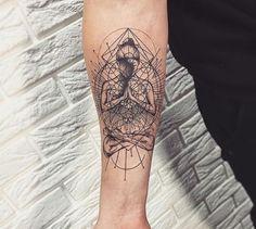 Buddha Tattoo Design, Buddha Tattoos, Body Art Tattoos, Hand Tattoos, Cool Tattoos, Chakra Tattoo, Sternum Tattoo, Tattoo Sleeve Designs, Sleeve Tattoos