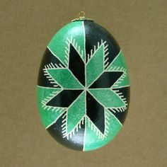 Pysanky Ukrainian Easter Egg Green Bicolor Star by JustEggsquisite, $20.00