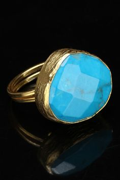 Stainless Steel Gold Plated Ring With Turquoise.