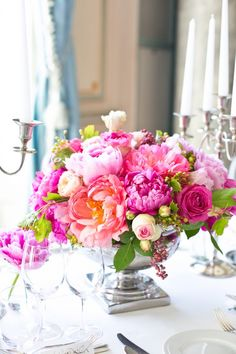 Pink Purple and Cream Rose and Peony Reception Centerpiece in Silver Bowl