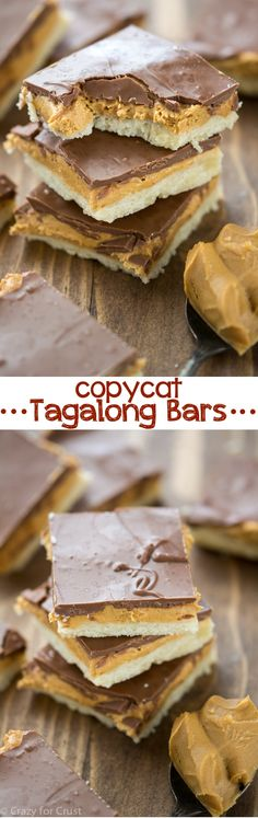 Tagalong Bars. These Homemade Tagalong Bars have a shortbread crust, peanut butter filling, and chocolate top. Better than a Girl Scout Cookie!