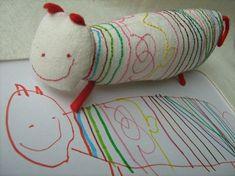 how to organize stuffed animals child's room | Child's artwork to stuffed animal. :-D | Cool Kid Stuff