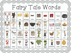 Fairy Tales - Writing Words for Centers Traditional Literature, Traditional Tales, Readers Workshop, Writer Workshop, Fairy Tale Activities, Fractured Fairy Tales, Fairy Tales Unit, Fairy Tale Theme, 2nd Grade Writing