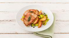 Minutensteak-Saltimbocca mit Apfel-Porree-Gemüse