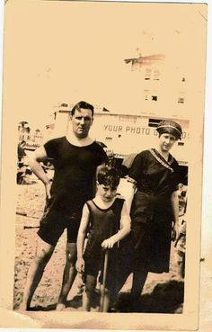 Antique photograph Mom, Dad and child in bathing suits  Selling on ebay