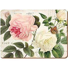 Creative Tops Rose Jardín Premium, reverso de corcho, manteles individuales, madera, rojo, juego de 6
