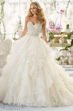 Mori Lee sweetheart beaded ruffles wedding dress - Deer Pearl Flowers / http://www.deerpearlflowers.com/wedding-dress-inspiration/mori-lee-sweetheart-beaded-ruffles-wedding-dress/