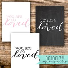 You Are So Loved Print  Print and Ship  Minimalist by dodidoodles