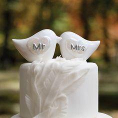 Porcelain Love Birds Wedding Cake Topper