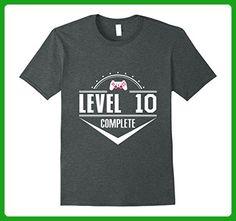 Mens Funny Video Gamer Geek 10th Birthday Gift Shirt: Level Up! 2XL Dark Heather - Gamer shirts (*Amazon Partner-Link)