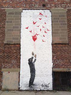 Alice in Wonderland graffiti, London Street art Love street Art! Stencil Graffiti, Graffiti Artwork, Street Art Graffiti, Mural Art, Urban Graffiti, Graffiti Artists, Graffiti Lettering, Stencil Art, Stencils
