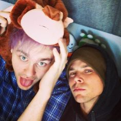 Ashton is trying to be punk rock, while Michael is like bahahahahaha...OR NAW