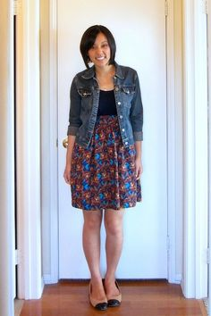 Jeans jacket and patterned skirt