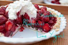 Strawberry, Blueberry, Lime Yogurt Pie