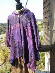 手織りのマント さをり織り フード付き パープル