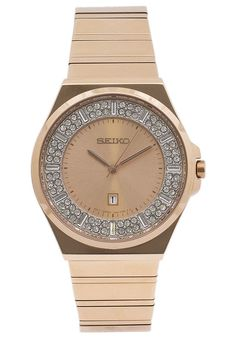 Seiko  Women's Gold-Tone Stainless Steel Champagne Dial