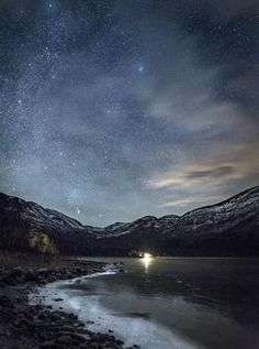 Dramatic Night Landscape photography of Milky Way and lake