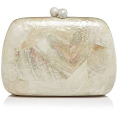 Serpui Lolita Mother Of Pearl Minaudiere (35.945 RUB) ❤ liked on Polyvore featuring bags, handbags, clutches, kabibe, chain strap purse, evening purse, chain strap crossbody purse, special occasion handbags and cocktail purse