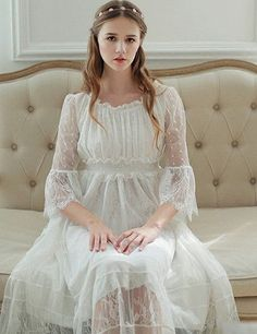 2016 New Spring Princess Nightdress Royal Pyjamas Women's Long Nightgown White Lace Sleepwear Can Outer Wear