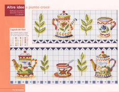 Beautiful kitchen miniature cross stitch chart / cross stitch pattern