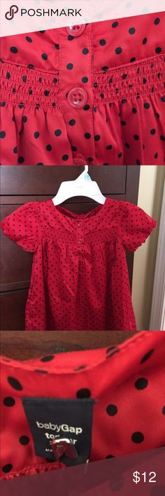 Beautiful red satin dress with black dots 3T Beautiful fancy dress made by the gap size 3T.  Red with black dots. In perfect condition. Worn once for the holidays. Smoke free home. GAP Dresses